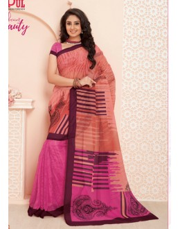 Ethnic Wear Pink Super Net Saree  - VIPUL-32031