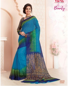 Casual Wear Blue Super Net Saree  - VIPUL-32032