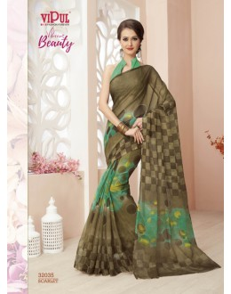 Party Wear Green Super Net Saree  - VIPUL-32035