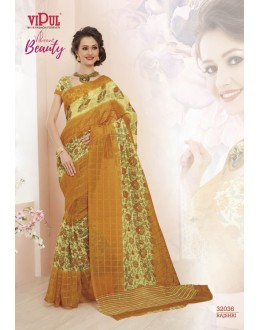 Yellow Colour Super Net Saree  - VIPUL-32036