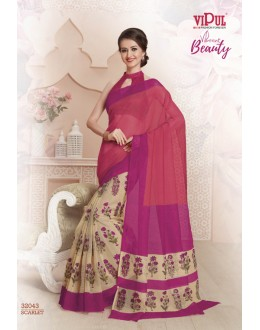 Casual Wear Pink Super Net Saree  - VIPUL-32043