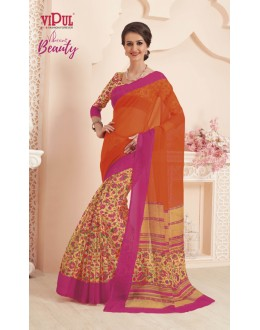 Super Net Multi-Colour Printed Saree  - VIPUL-32048