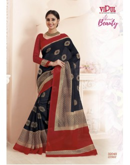 Ethnic Wear Black & Red Super Net Saree  - VIPUL-32049