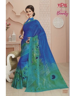 Super Net Blue & Green Printed Saree  - VIPUL-32050