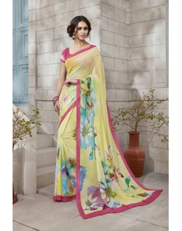 Casual Wear Yellow Georgette Saree  - VIPUL-32933