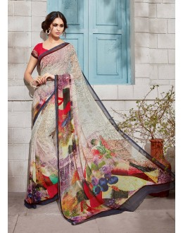 Casual Wear Multi-Colour Georgette Saree  - VIPUL-32934
