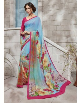 Casual Wear Multi-Colour Georgette Saree  - VIPUL-32938