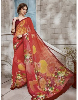 Multi-Colour Georgette Printed Saree  - VIPUL-32939