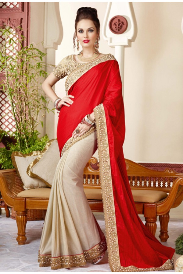 Party Wear Red & Beige Chiffon Embroidery Saree  - 3411