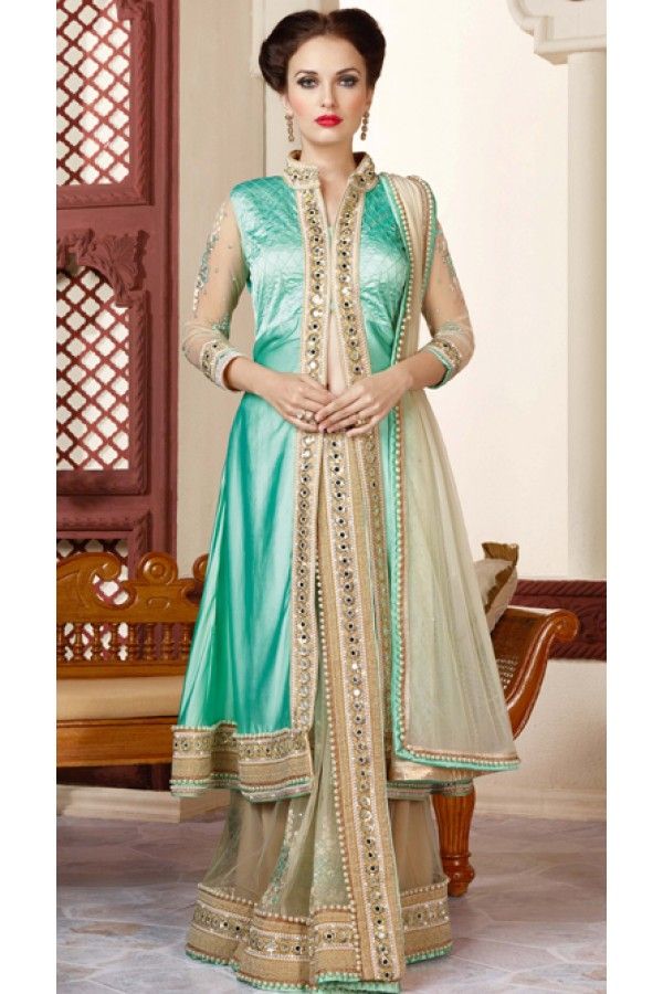 Festival Wear Turquoise & Beige Net Embroidery Saree  - 3414