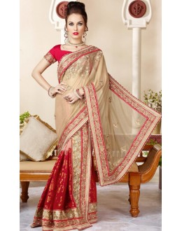 Festival Wear Beige & Red Shimmer Net Saree  - 3417