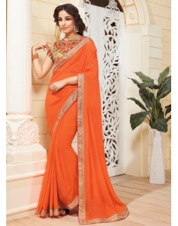 Ethnic Wear Orange Chiffon Saree - VIPUL-3713