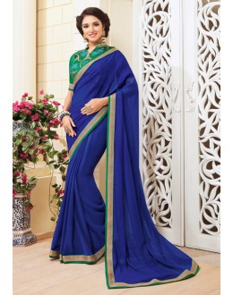 Casual Wear Blue Georgette Saree - VIPUL-3714