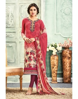 Casual Wear Pink Crepe Salwar Suit - 7103