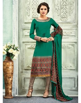 Casual Wear Green Crepe Salwar Suit - 7106
