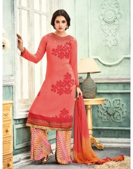 Ethnic Wear Pink Crepe Palazzo Suit - 7110