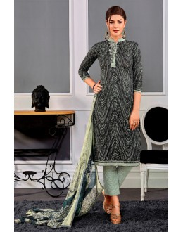 Casual Wear Black Cotton Satin Salwar Suit  - VIPUL-9301