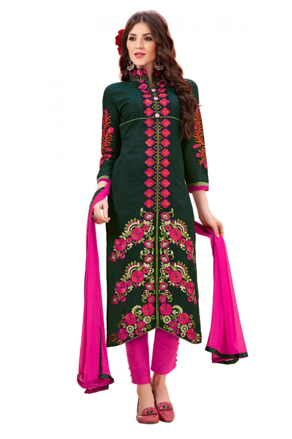 Party Wear Green & Pink Cotton Salwar Suit - 3002