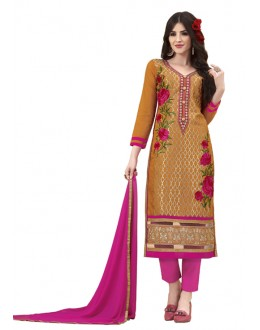 Party Wear Yellow & Pink Cotton Salwar Suit - 3012