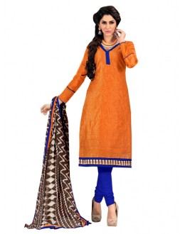 Party Wear Orange Un-Stitched Churidar Suit - 7AKS13018