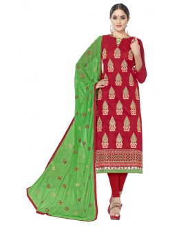 Chanderi Cotton Red Embroidery Salwar Suit - ALEXA5007