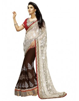 Party Wear Off White Brasso Saree - 1305