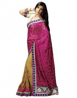 Party Wear Pink Brasso Saree - 1306