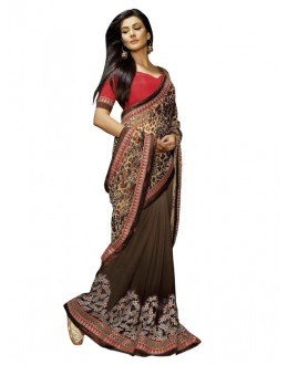 Party Wear Coffee Brasso Saree - 1315