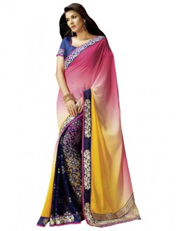 Party Wear Multicolor Brasso Saree - 1317