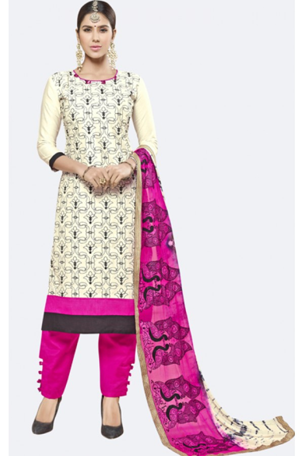 Office Wear Cream Cotton Salwar Kameez - AMYRA 2801