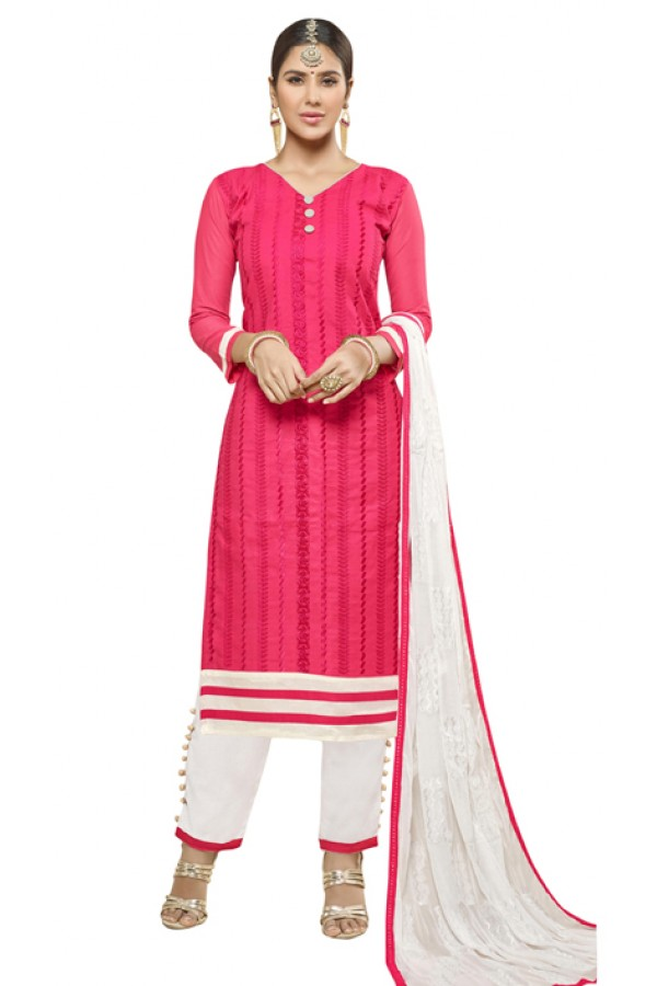 Casual Wear Pink Cotton Salwar Suit - AMYRA 2805