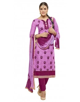 Office Wear Purple Cotton Churidar Suit - AMYRA 2808