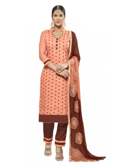 Party Wear Peach Cotton Salwar Suit - AMYRA 2809