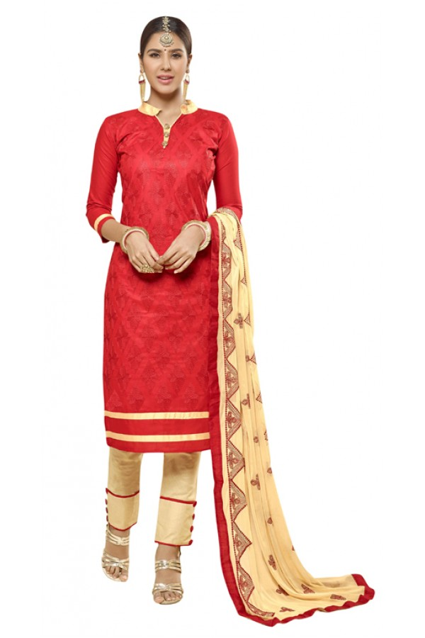 Office Wear Red Cotton Salwar Suit - AMYRA 2811