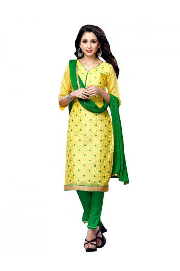 Party Wear Yellow Chanderi Cotton Churidar Suit - ARY3009