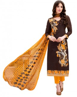 Office Wear Brown & Orange Salwar Suit - 1002