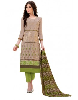 Party Wear Beige & Green Salwar Suit - 1003