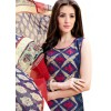 Office Wear Blue & Red  Churidar Suit - 1004