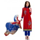 Ethnic Wear Red & Blue Salwar Suit - 1006