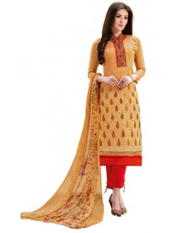 Ethnic Wear Yellow & Red Salwar Suit - 1007