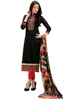 Office Wear Black & Red Salwar Suit - 1008