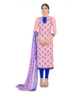 Office Wear Pink Chanderi Salwar Suit - 15054
