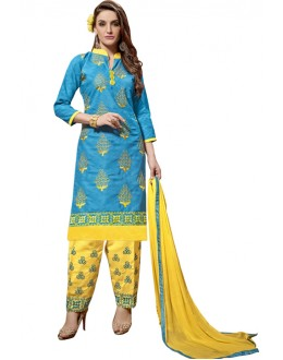 Office Wear Blue Jacquard Salwar Suit -301