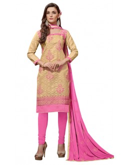 Party Wear Beige Jacquard Salwar Kameez - 304