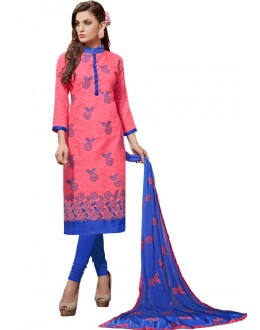 Party Wear Pink Jacquard Churidar Suit - 306