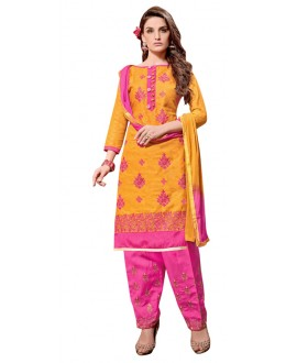 Office Wear Yellow Jacquard Salwar Suit - 311