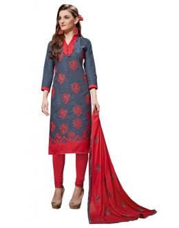 Office Wear Grey Jacquard Churidar Suit - 312