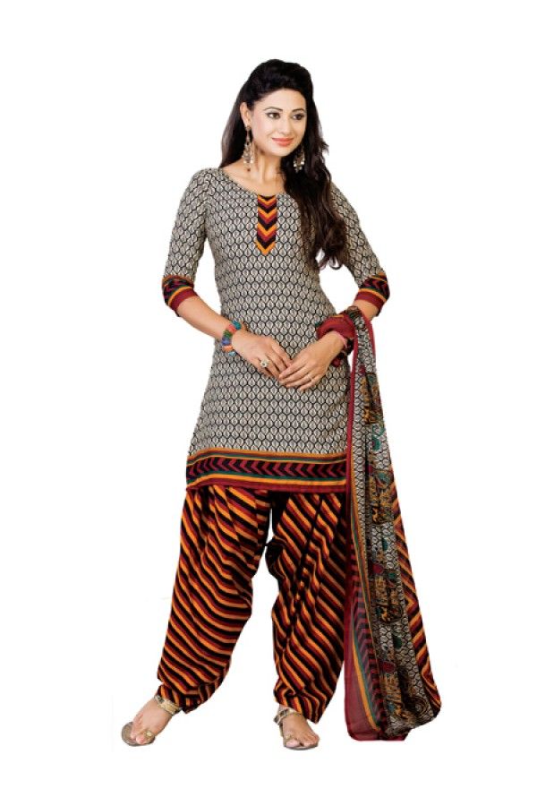 Casual Wear Black Un-Stitched Salwar Suit - CC1206
