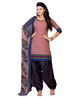 Casual Wear Red Un-Stitched Salwar Suit - CC1206A