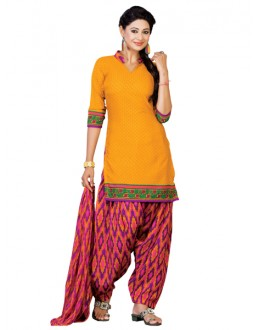 Casual Wear Yellow Un-Stitched Salwar Suit - CC1208